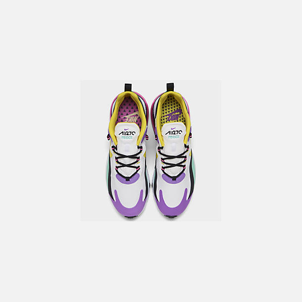 Back view of Women's Nike Air Max 270 React Casual Shoes in White/Dynamic Yellow/Black/Bright V