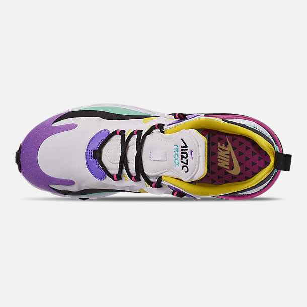 Top view of Women's Nike Air Max 270 React Casual Shoes in White/Dynamic Yellow/Black/Bright V