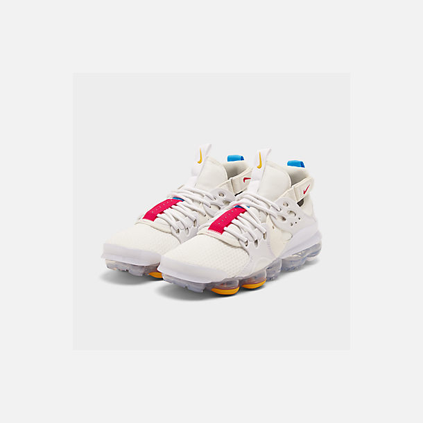 Three Quarter view of Men's Nike Air DVSM Casual Shoes in Summit White/Red Orbit/White/Battle