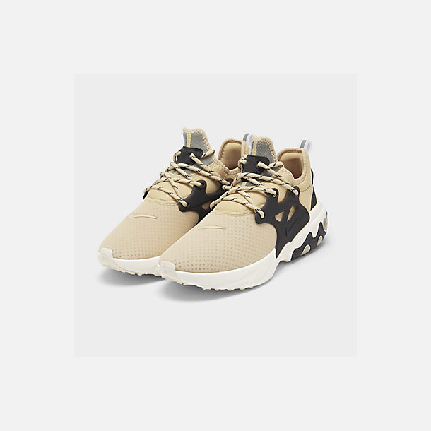 Three Quarter view of Men's Nike React Presto Running Shoes in Desert Ore/Black/Light Cream