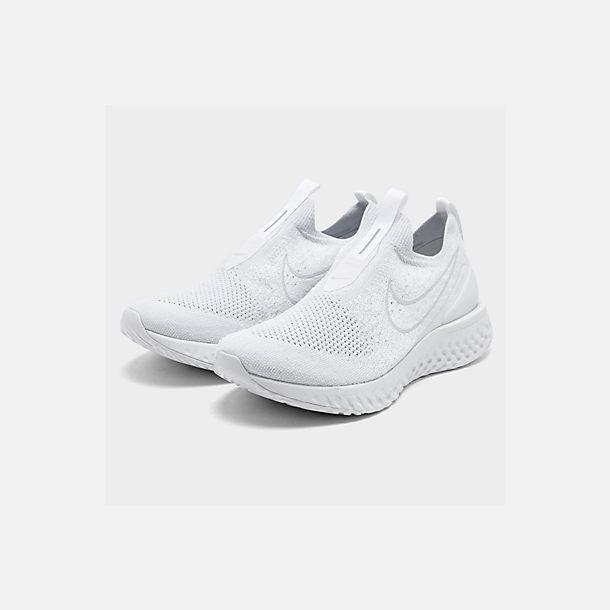 48621b13273c9 Three Quarter view of Men s Nike Epic Phantom React Flyknit Running Shoes  in White White