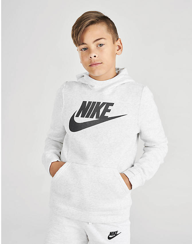 brand new 66bbf bc7a6 Front Three Quarter view of Boys  Nike Sportswear Club Fleece Hoodie in  Birch Heather