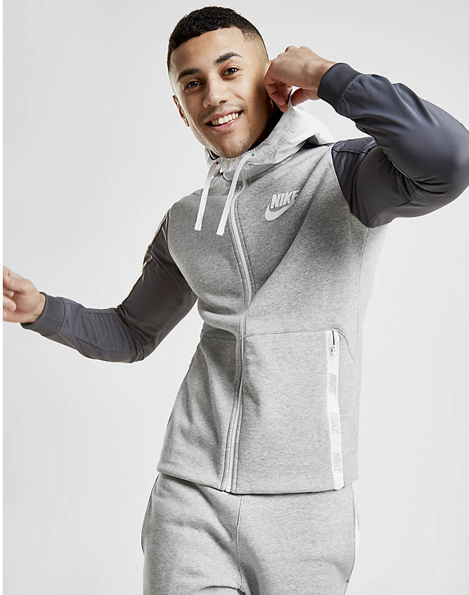 Front view of Men's Nike Hybrid Full-Zip Hoodie in Grey