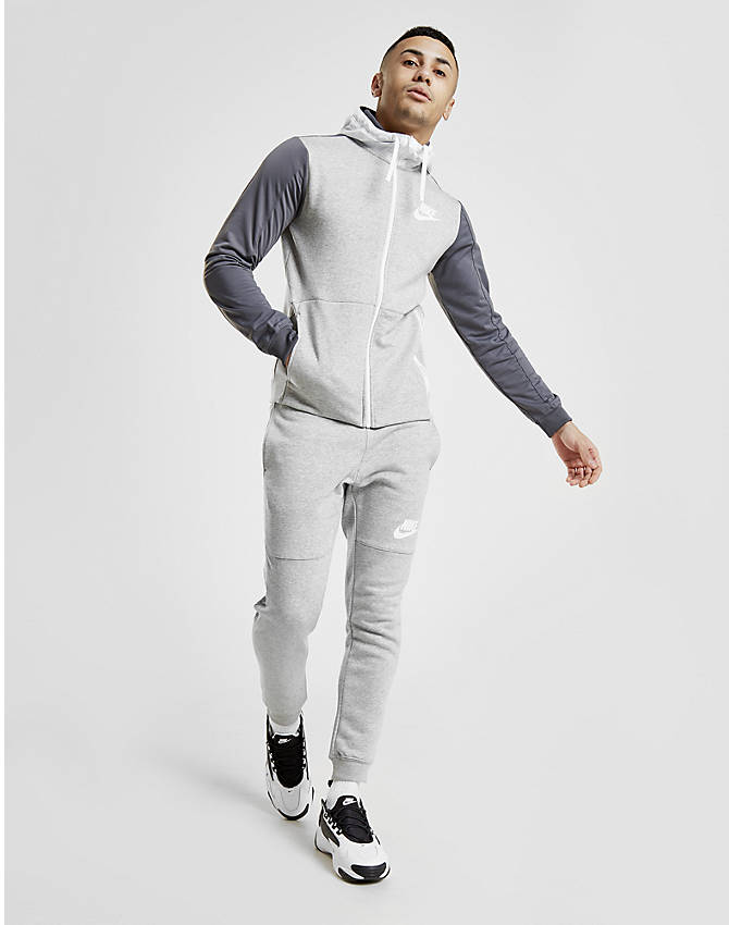 Front Three Quarter view of Men's Nike Hybrid Full-Zip Hoodie in Grey