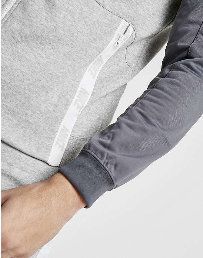 Back Left view of Men's Nike Hybrid Full-Zip Hoodie in Grey