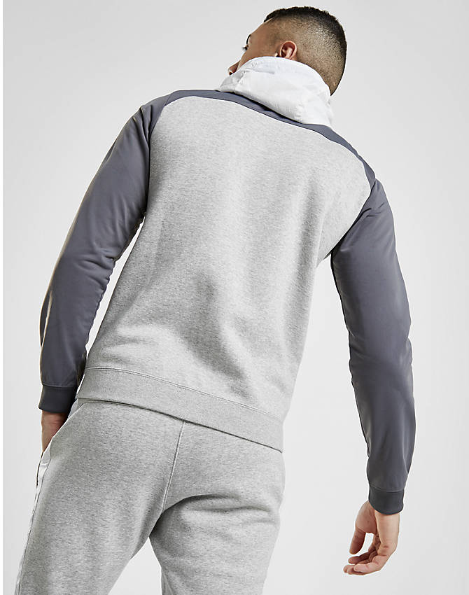 Back Right view of Men's Nike Hybrid Full-Zip Hoodie in Grey