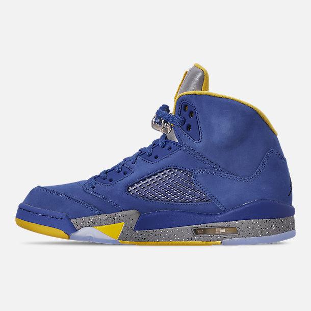 online store 66551 509a5 Left view of Men s Air Jordan Retro 5 Laney JSP Basketball Shoes in Varsity  Royal