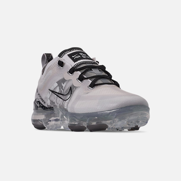 Three Quarter view of Women's Nike Air VaporMax 2019 SE Running Shoes in Vast Grey/Black/Metallic Silver