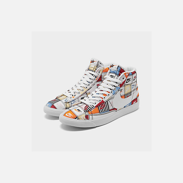 Three Quarter view of Men's Nike Blazer Mid Patchwork Casual Shoes in White/White/Multi-Color/Black