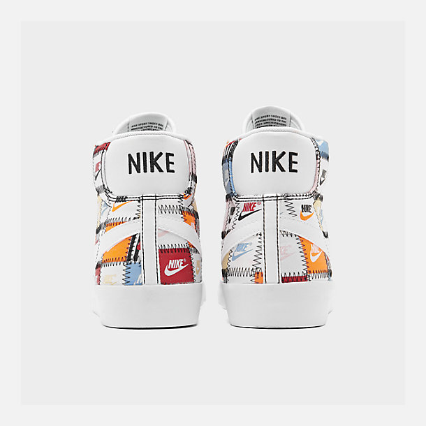 Left view of Men's Nike Blazer Mid Patchwork Casual Shoes in White/White/Multi-Color/Black