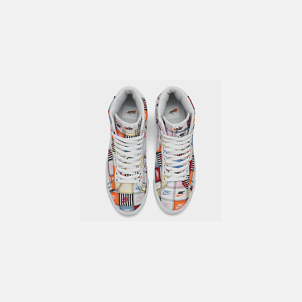 Back view of Men's Nike Blazer Mid Patchwork Casual Shoes in White/White/Multi-Color/Black