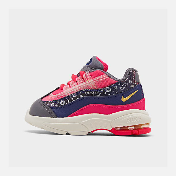 Right view of Girls' Toddler Nike Air Max 95 SE Casual Shoes in Regency Purple/Laser Orange/Racer Pink
