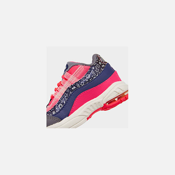 Front view of Girls' Toddler Nike Air Max 95 SE Casual Shoes in Regency Purple/Laser Orange/Racer Pink