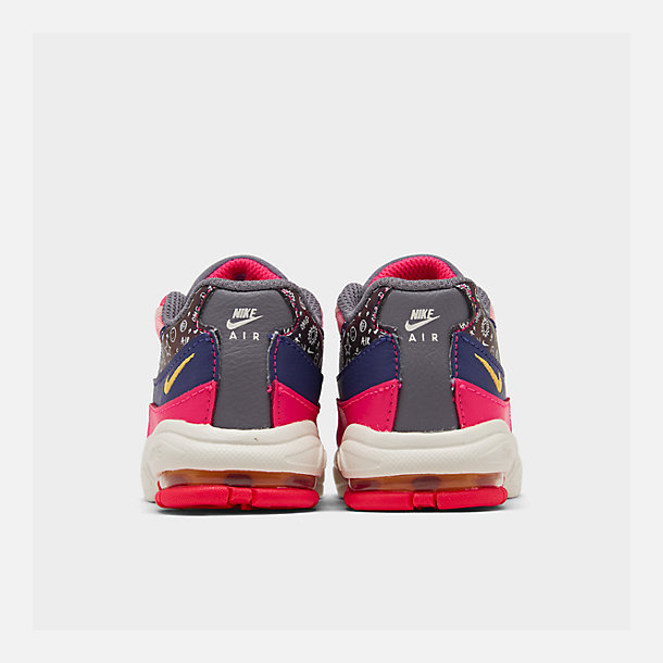 Left view of Girls' Toddler Nike Air Max 95 SE Casual Shoes in Regency Purple/Laser Orange/Racer Pink