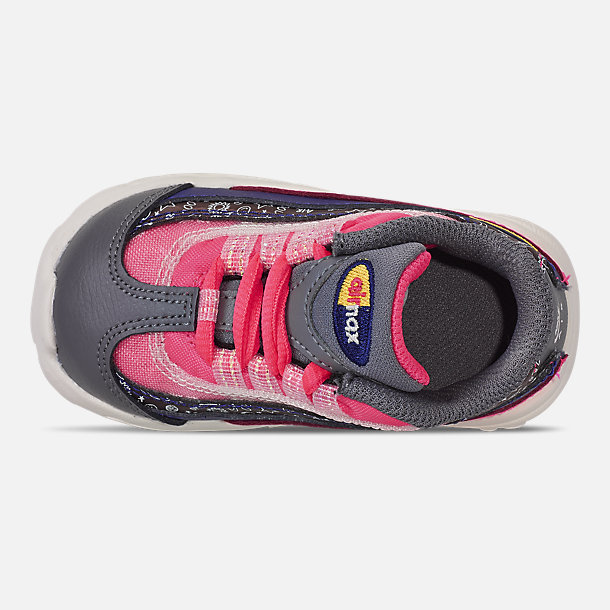 Top view of Girls' Toddler Nike Air Max 95 SE Casual Shoes in Regency Purple/Laser Orange/Racer Pink