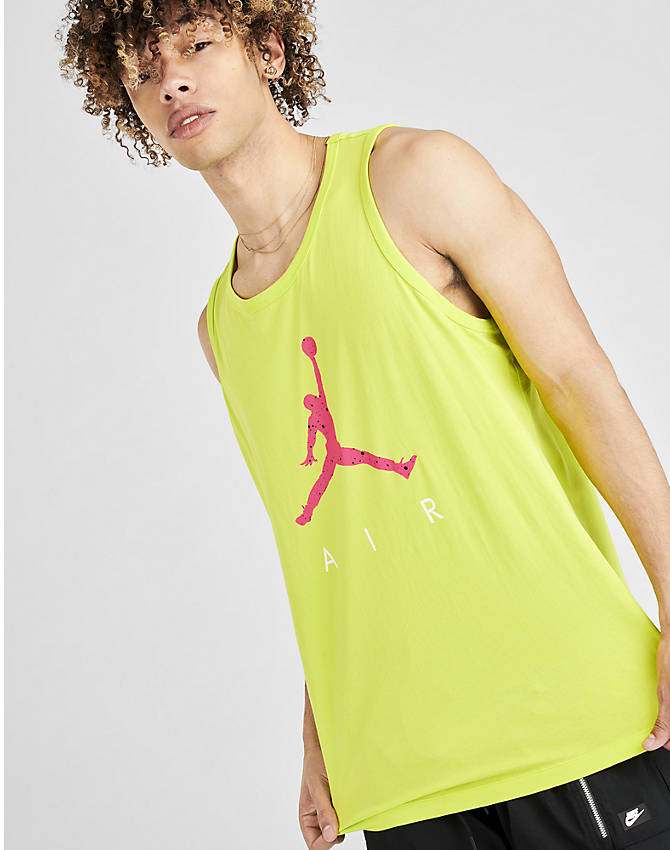 Back Left view of Men's Jordan Poolside Tank in Cyber Green
