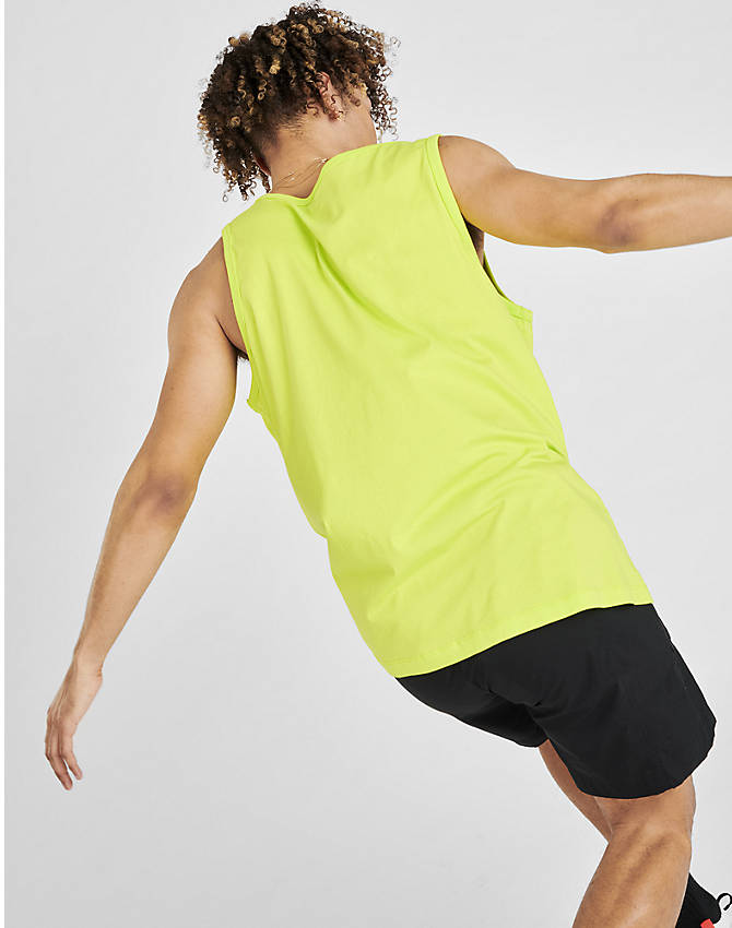 Back Right view of Men's Jordan Poolside Tank in Cyber Green