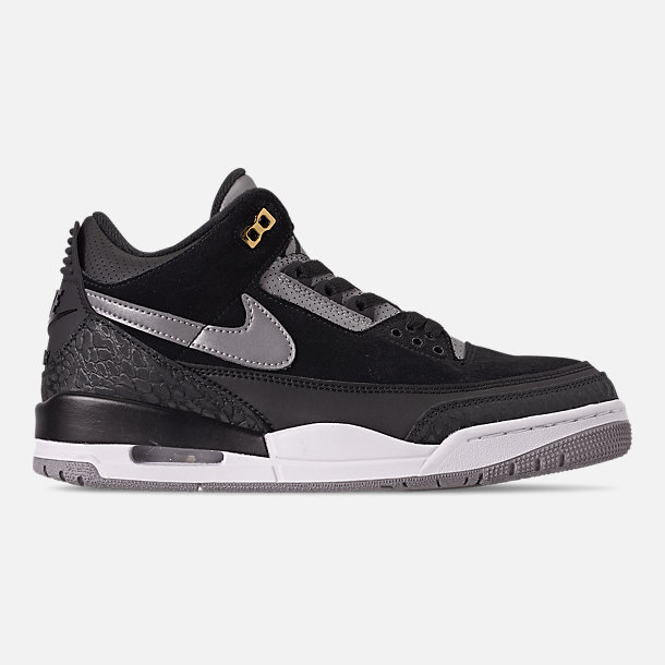 Right view of Men's Air Jordan Retro 3 Tinker Basketball Shoes in Black/Cement Grey/Metallic Gold