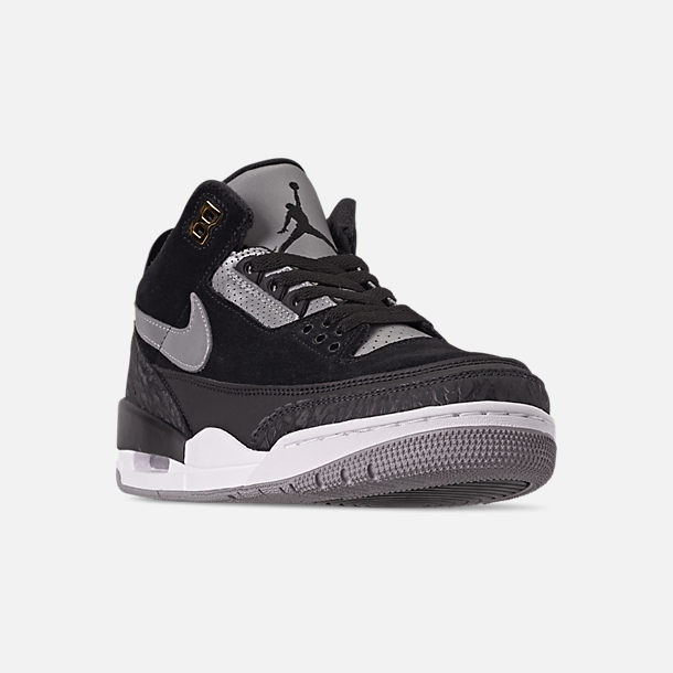Three Quarter view of Men's Air Jordan Retro 3 Tinker Basketball Shoes in Black/Cement Grey/Metallic Gold