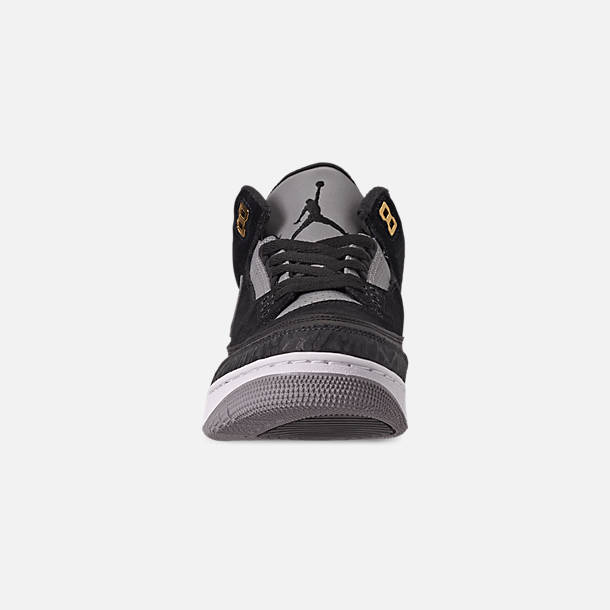 Front view of Men's Air Jordan Retro 3 Tinker Basketball Shoes in Black/Cement Grey/Metallic Gold