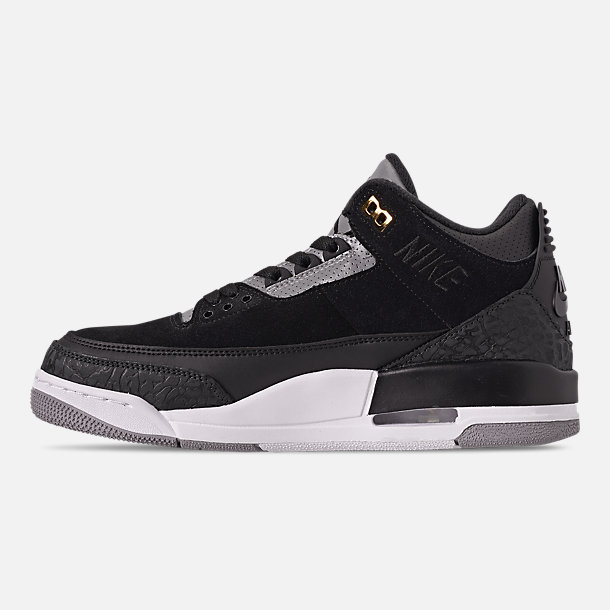 Left view of Men's Air Jordan Retro 3 Tinker Basketball Shoes in Black/Cement Grey/Metallic Gold
