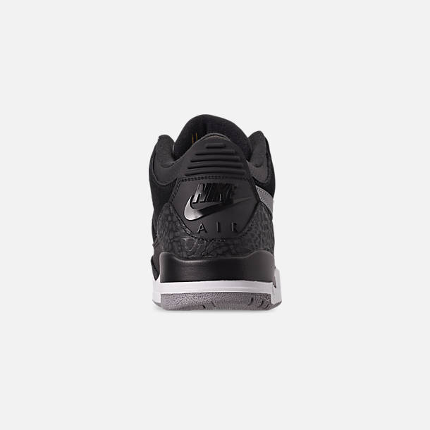 Back view of Men's Air Jordan Retro 3 Tinker Basketball Shoes in Black/Cement Grey/Metallic Gold