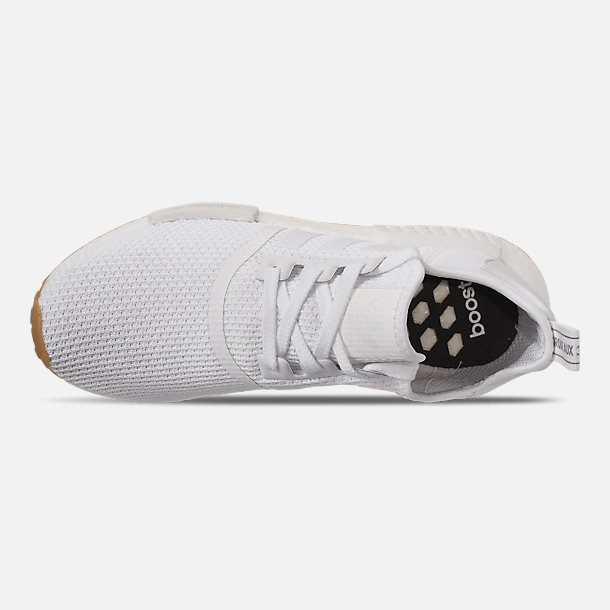 Top view of Men's adidas NMD Runner R1 Casual Shoes in Footwear White/Footwear White