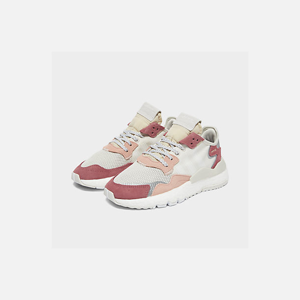 competitive price 034ba 91cfd Three Quarter view of Women s adidas Originals Nite Jogger Casual Shoes in  White White