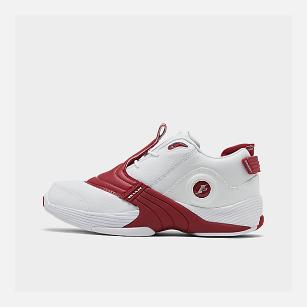 Right view of Men's Reebok Answer V Basketball Shoes in White/Power Red