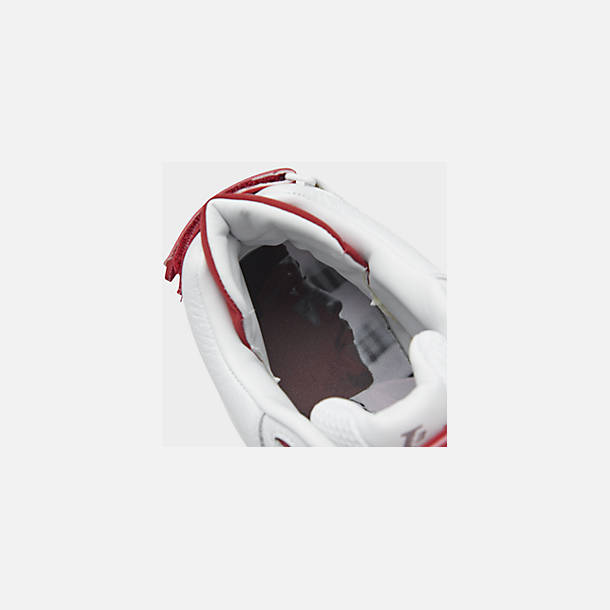 Front view of Men's Reebok Answer V Basketball Shoes in White/Power Red