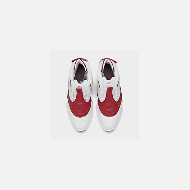Back view of Men's Reebok Answer V Basketball Shoes in White/Power Red