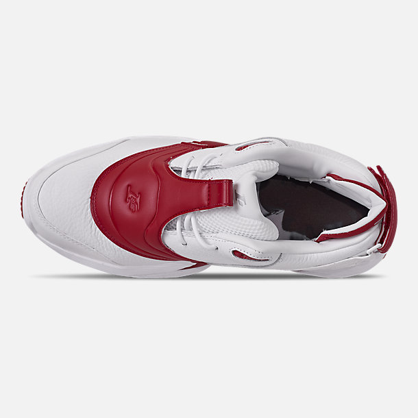 Top view of Men's Reebok Answer V Basketball Shoes in White/Power Red