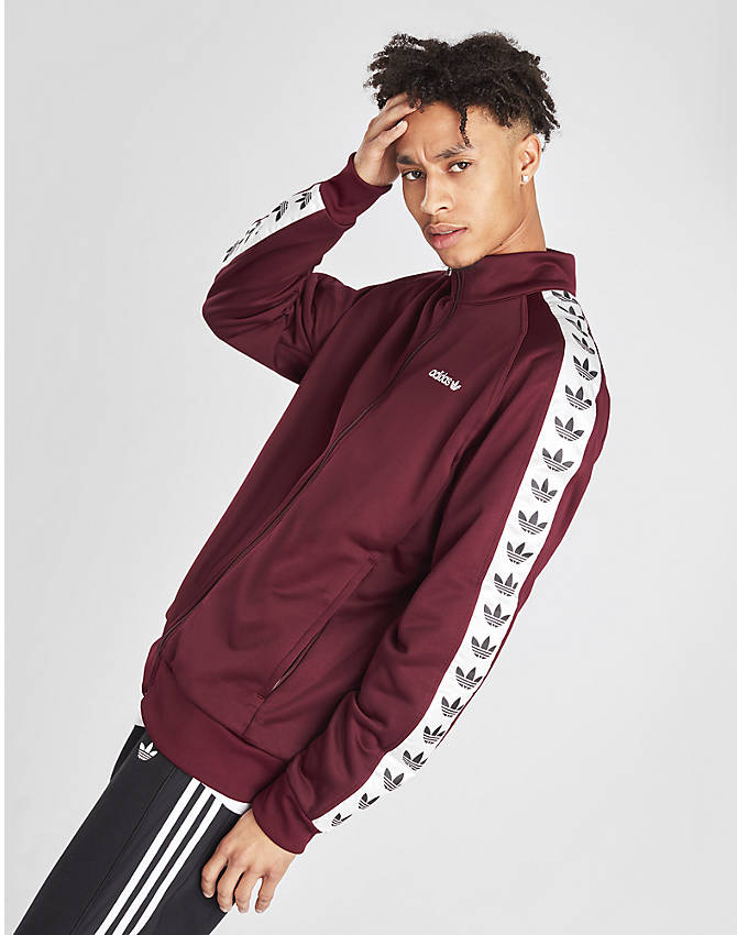 Back Left view of Men's adidas Originals Taped Firebird Track Jacket in Burgundy