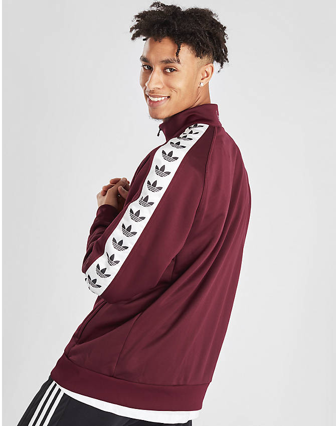 Back Right view of Men's adidas Originals Taped Firebird Track Jacket in Burgundy