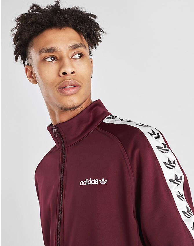 On Model 5 view of Men's adidas Originals Taped Firebird Track Jacket in Burgundy