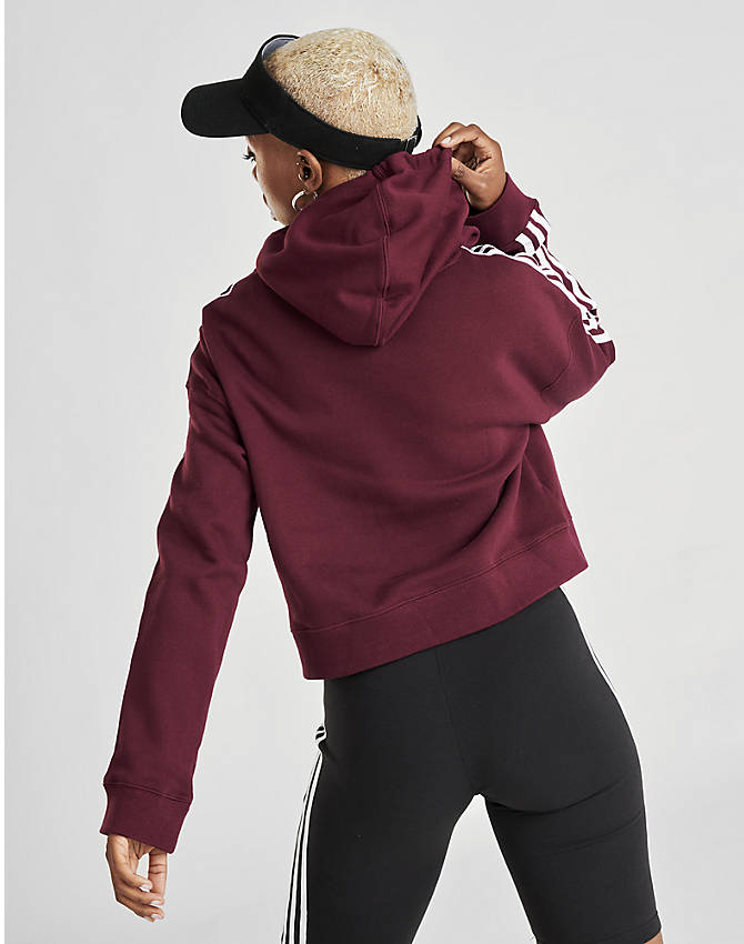 Back Left view of Women's adidas Originals Taped Hoodie in Dark Burgundy