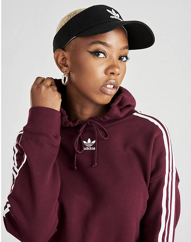 Back Right view of Women's adidas Originals Taped Hoodie in Dark Burgundy