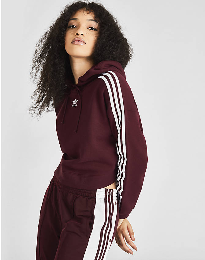 On Model 6 view of Women's adidas Originals Taped Hoodie in Dark Burgundy