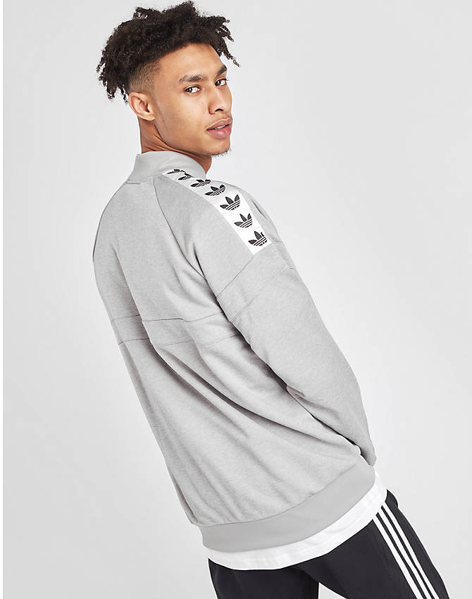 Back Right view of Men's adidas Originals Itasca Tape Track Jacket in Medium Grey