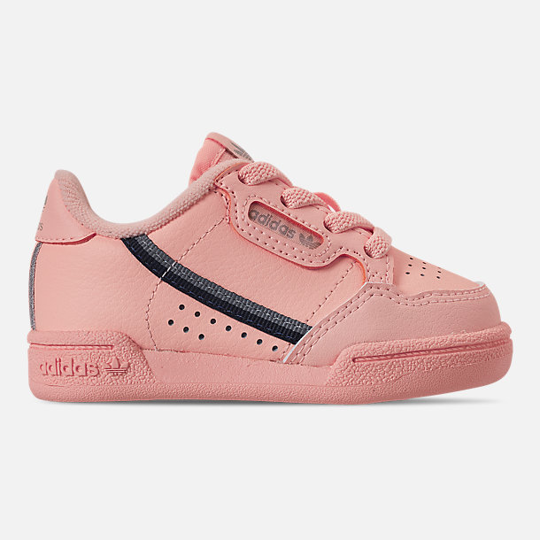 Right view of Girls' Toddler adidas Continental 80 Casual Shoes in Clear Orange/Light Brown/Ecru Tint