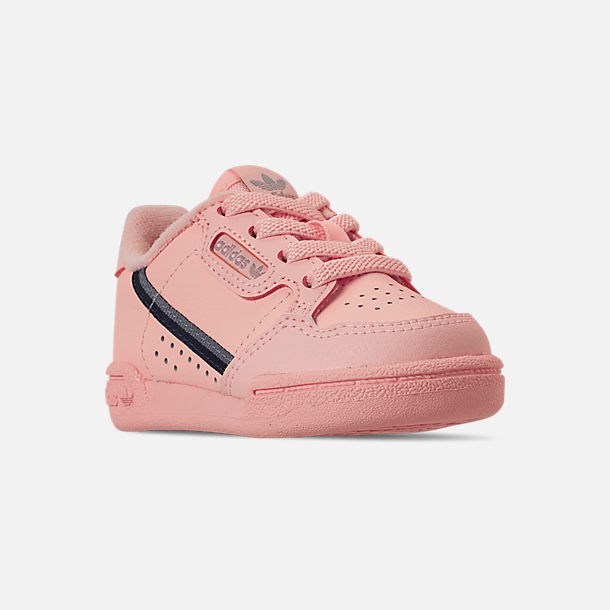 Three Quarter view of Girls' Toddler adidas Continental 80 Casual Shoes in Clear Orange/Light Brown/Ecru Tint