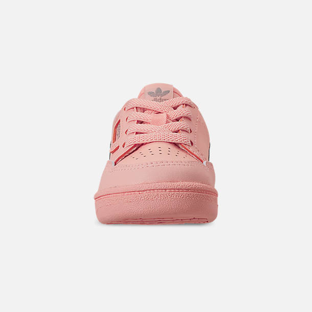 Front view of Girls' Toddler adidas Continental 80 Casual Shoes in Clear Orange/Light Brown/Ecru Tint