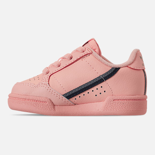 Left view of Girls' Toddler adidas Continental 80 Casual Shoes in Clear Orange/Light Brown/Ecru Tint