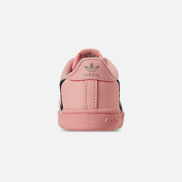 Back view of Girls' Toddler adidas Continental 80 Casual Shoes in Clear Orange/Light Brown/Ecru Tint
