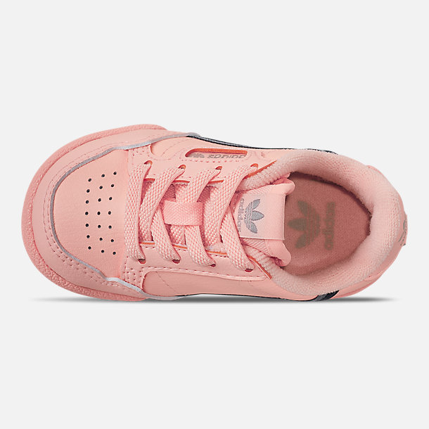 Top view of Girls' Toddler adidas Continental 80 Casual Shoes in Clear Orange/Light Brown/Ecru Tint