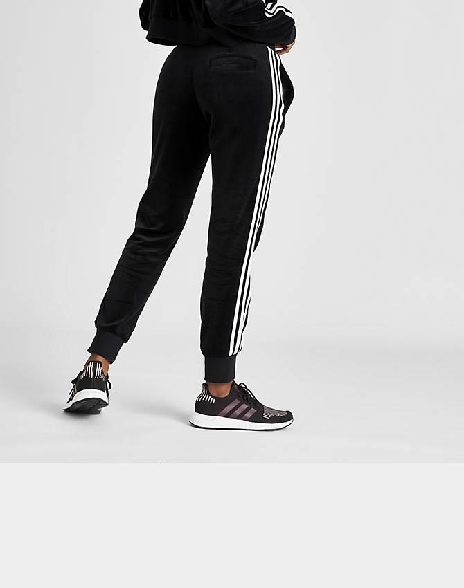 Womens Adidas Velour Track Pants Size S Black 3 Stripes