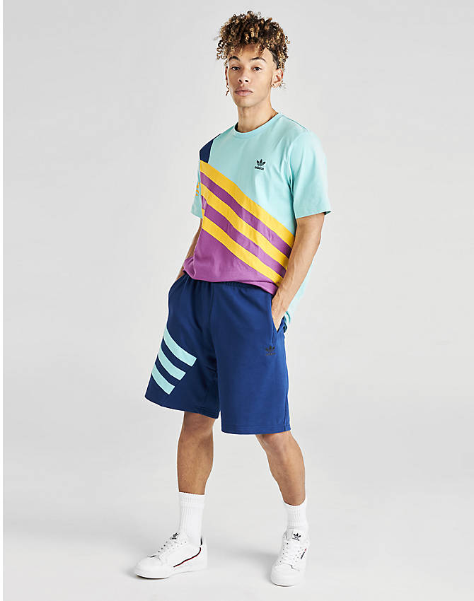 Front view of Men's adidas Originals 90's Summer Shorts in Mystery Blue