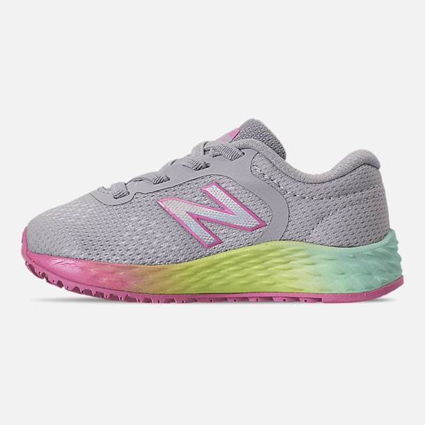Left view of Girls' Toddler New Balance Fresh Foam Arishi V2 Hook-and-Loop Running Shoes in Light Aluminum/Rainbow