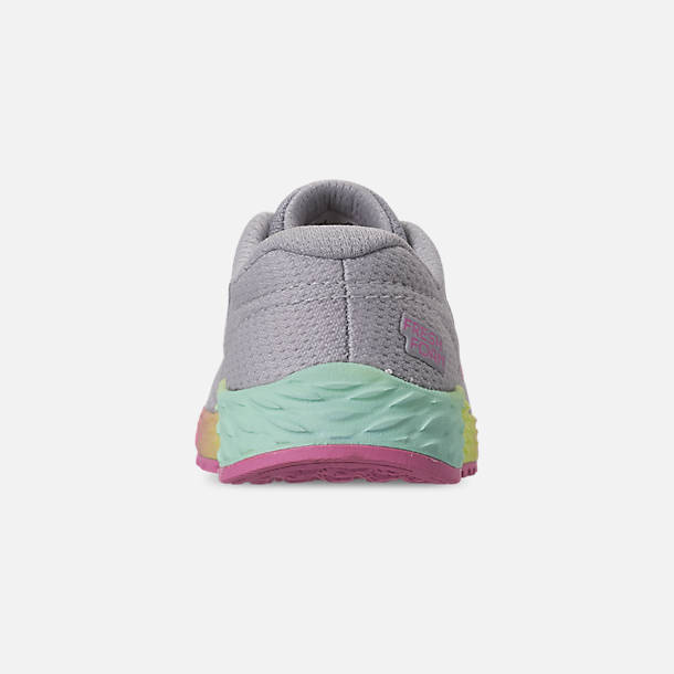 Back view of Girls' Toddler New Balance Fresh Foam Arishi V2 Hook-and-Loop Running Shoes in Light Aluminum/Rainbow