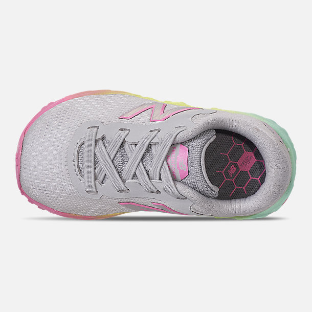 Top view of Girls' Toddler New Balance Fresh Foam Arishi V2 Hook-and-Loop Running Shoes in Light Aluminum/Rainbow